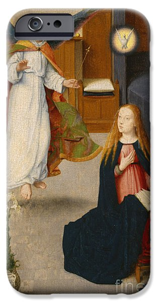 Annunciation iPhone Cases - The Annunciation iPhone Case by Gerard David