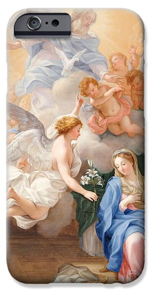 Cherub iPhone Cases - The Annunciation iPhone Case by Giovanni Odazzi
