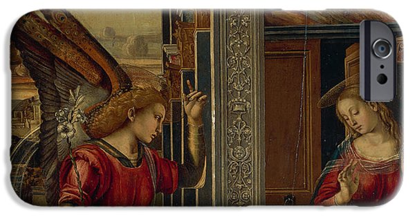 Annunciation iPhone Cases - The Annunciation iPhone Case by Luca Signorelli