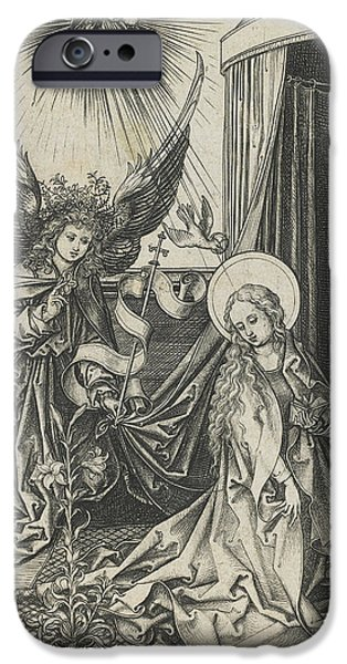 Annunciation iPhone Cases - The Annunciation iPhone Case by Martin Schongauer
