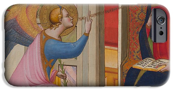 Annunciation iPhone Cases - The Annunciation iPhone Case by Master of Saint Verdiana