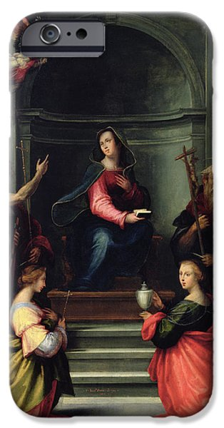Margaret iPhone Cases - The Annunciation With Saints, 1515 Oil On Panel iPhone Case by Fra Bartolommeo