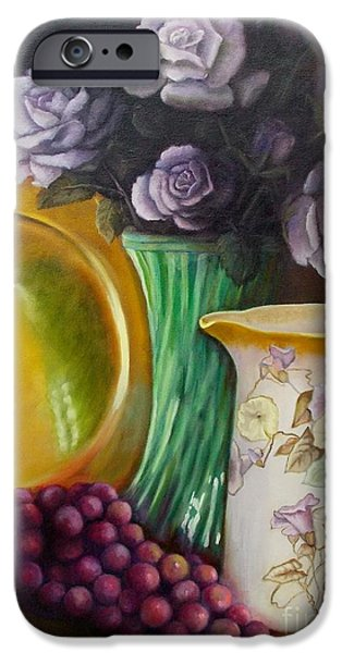 Still Life With Old Pitcher iPhone Cases - The Antique Pitcher iPhone Case by Marlene Book