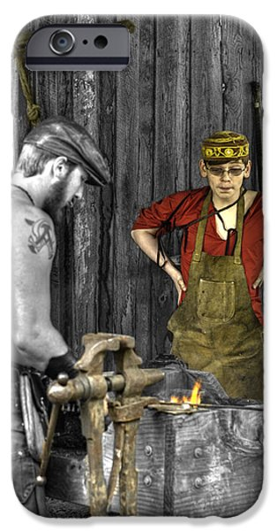 Weapon iPhone Cases - The Apprentice Blacksmith Armorer iPhone Case by John Straton