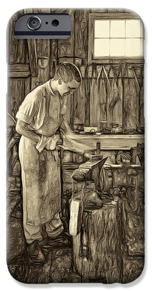 Vise iPhone Cases - The Apprentice - Paint sepia iPhone Case by Steve Harrington