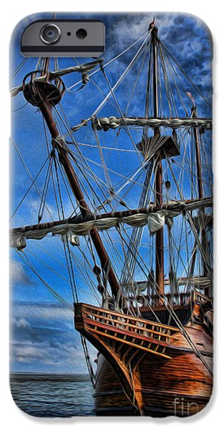 Wooden Ship iPhone Cases - The Approaching Storm - Spanish Galleon iPhone Case by Lee Dos Santos