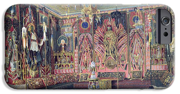Orientalists iPhone Cases - The Arabian Hall In The Catherine Palace At Tsarskoye Selo, C.1850 Wc & White Colour On Paper iPhone Case by Luigi Premazzi