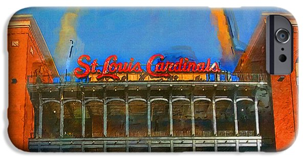 Baseball Stadiums Paintings iPhone Cases - The Arch and Busch Stadium iPhone Case by John Farr