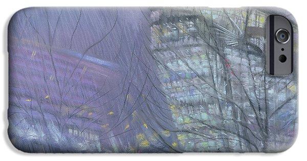 Raining iPhone Cases - The Ark, Novotel Hotel, Hammersmith Flyover, 1999 Pastel On Paper iPhone Case by Sophia Elliot
