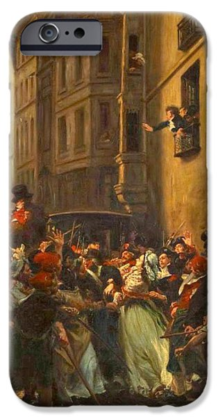 Charlotte Paintings iPhone Cases - The arrest of Charlotte Corday after the murder of Marat iPhone Case by Celestial Images