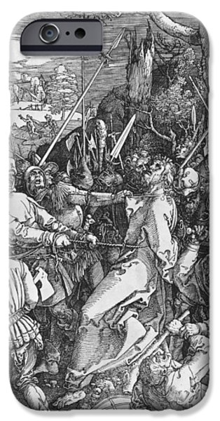 Son Of God Drawings iPhone Cases - The Arrest of Jesus Christ iPhone Case by Albrecht Durer or Duerer