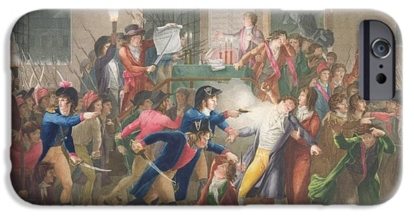 Print Photographs iPhone Cases - The Arrest Of Robespierre, The Night Of The 9th To 10th Thermidor, Year Ii, 27th July 1794 Coloured iPhone Case by Jean Joseph Francois Tassaert