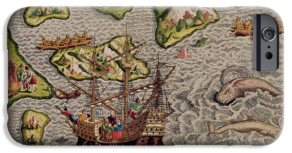 Canoe iPhone Cases - The Arrival And Disembarkation On The American Coast, From Americae Tertia Pars..., 1592 Coloured iPhone Case by Theodore de Bry