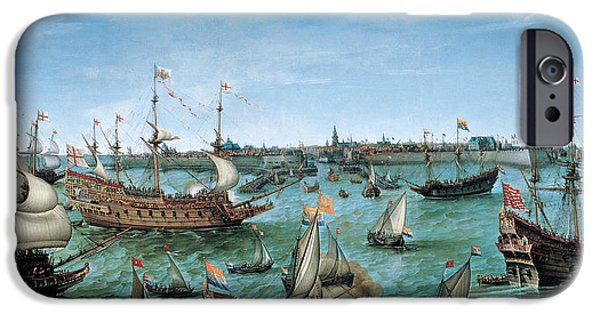 At Arrivals iPhone Cases - The Arrival at Vlissingen of the Elector Palatinate Frederick V iPhone Case by Hendrik Cornelisz Vroom