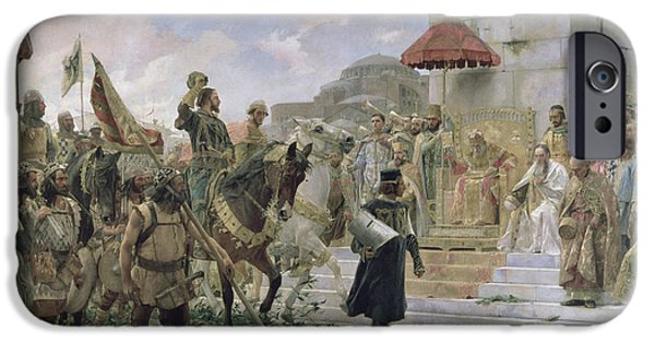 Campaign iPhone Cases - The Arrival Of Roger De Flor 1280-1307 In Constantinople In 1303 With 8000 Almogavares Serving iPhone Case by Jose Moreno Carbonero