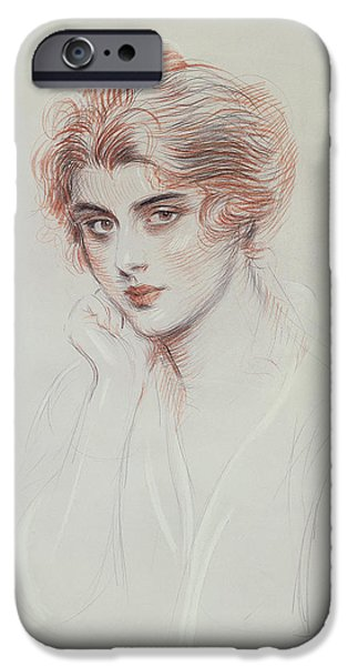 20th Drawings iPhone Cases - The Artists Daughter iPhone Case by Paul Cesar Helleu
