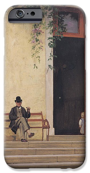 Gerome iPhone Cases - The Artists Father and Son on the Doorstep of his House iPhone Case by Jean Leon Gerome