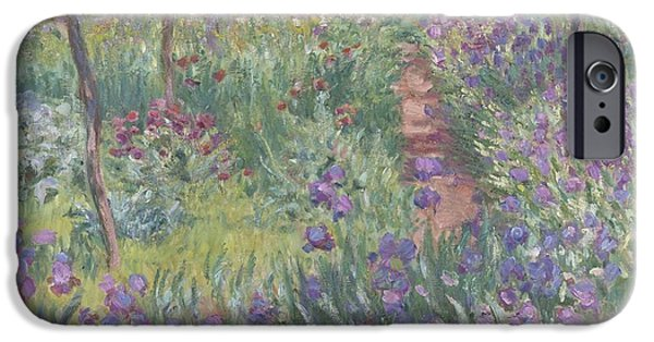 Pathway iPhone Cases - The Artists Garden In Giverny iPhone Case by Claude Monet