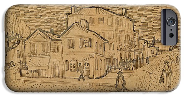 Pen And Ink Drawing Drawings iPhone Cases - The Artists House in Arles iPhone Case by Vincent Van Gogh