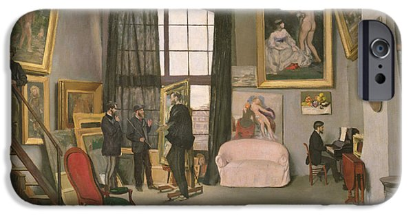 Furniture iPhone Cases - The Artists Studio iPhone Case by Jean Frederic Bazille