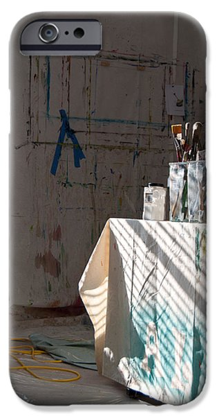 Cabin Window Digital iPhone Cases - The Artists Studio iPhone Case by Paulette B Wright