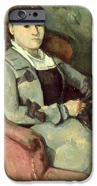 Madame iPhone Cases - The Artists Wife In An Armchair, C.187888 Oil On Canvas iPhone Case by Paul Cezanne