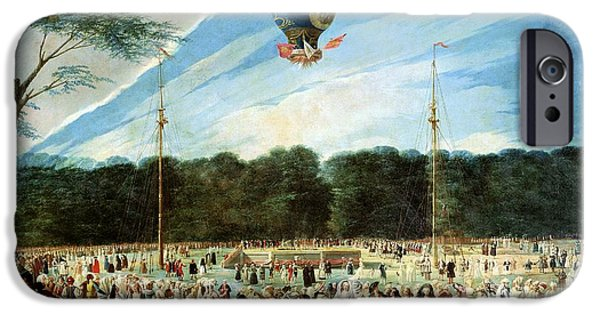 Crowd iPhone Cases - The Ascent Of The Montgolfier Balloon At Aranjuez, C.1764 Oil On Canvas iPhone Case by Antonio Carnicero