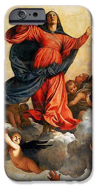 Rays Paintings iPhone Cases - The Assumption of the Virgin iPhone Case by Titian