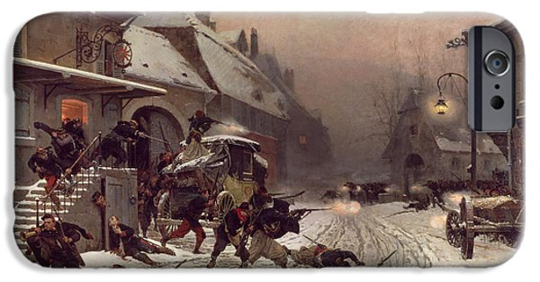 Snowy Weather iPhone Cases - The Attack at Dawn iPhone Case by Alphonse Marie De Neuville