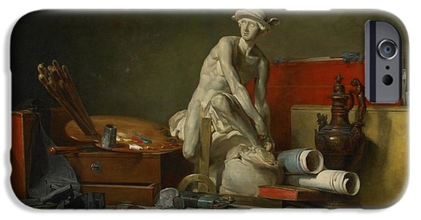 Work Tool iPhone Cases - The Attributes of the Arts and the Rewards Which Are Accorded Them iPhone Case by Jean Baptiste Simeon Chardin