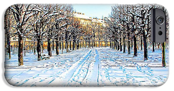 Snowy Day iPhone Cases - The Augarten in the Snow iPhone Case by Menega Sabidussi