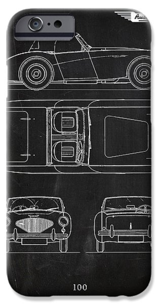 Cars iPhone Cases - The Austin-Healey 100 iPhone Case by Mark Rogan