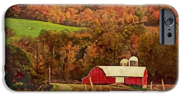 Fall iPhone Cases - The Autumn Barn iPhone Case by Lianne Schneider