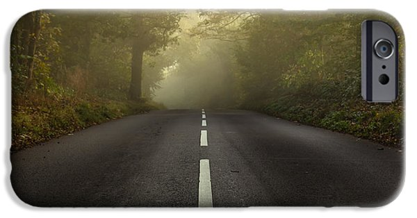Autumn iPhone Cases - The autumnal road iPhone Case by Chris Fletcher