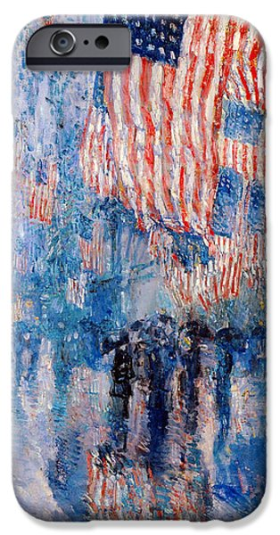Holiday Digital Art iPhone Cases - The Avenue In The Rain iPhone Case by Frederick Childe Hassam