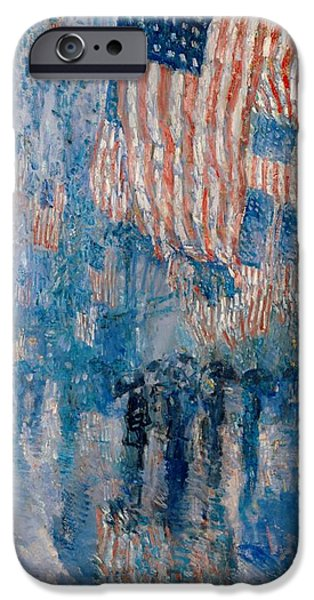Old Glory Paintings iPhone Cases - The Avenue in the Rain iPhone Case by Nomad Art And  Design