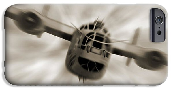 Warbird iPhone Cases - The B - 24 Liberator Panoramic  iPhone Case by Mike McGlothlen