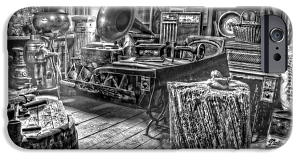 Country Store iPhone Cases - The Back Room Black and White iPhone Case by Ken Smith