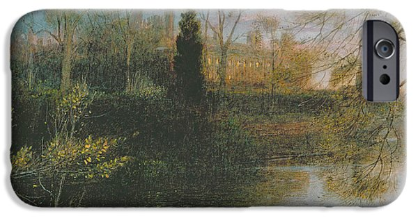 Evening iPhone Cases - The Backs, Cambridge, 1908 iPhone Case by Albert Goodwin