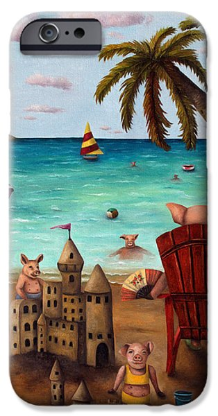 Sand Castles iPhone Cases - The Bacon Shortage brighter iPhone Case by Leah Saulnier The Painting Maniac