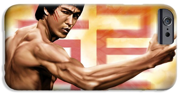 Bruce Paintings iPhone Cases - The Baddest iPhone Case by Pete Tapang
