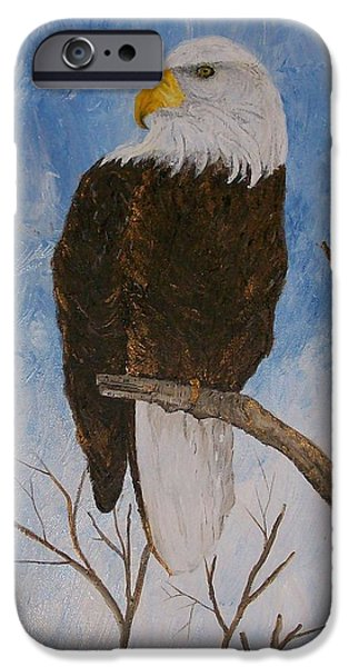 Eagle Pastels iPhone Cases - The Bald Eagle iPhone Case by Roy Penny