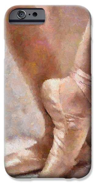 Ballet Dancers Mixed Media iPhone Cases - The Ballerinas Shoes iPhone Case by Georgiana Romanovna