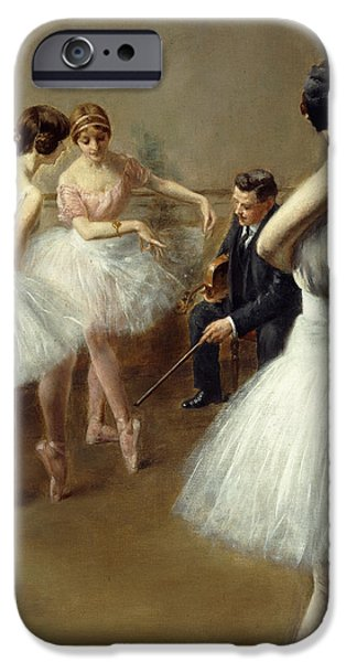 Dance Studio iPhone Cases - The Ballet Lesson iPhone Case by Pierre Carrier-Belleuse