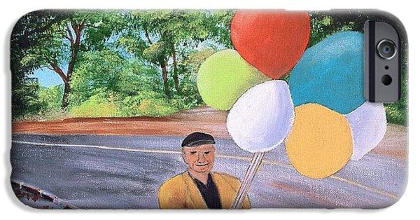 Balloon Vendor iPhone Cases - The Balloon Man iPhone Case by Rich Fotia