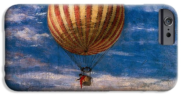 Gas Paintings iPhone Cases - The Balloon iPhone Case by Pal Szinyei Merse