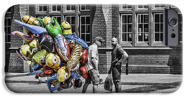 Balloon Vendor iPhone Cases - The Balloon Seller Popped iPhone Case by Steve Purnell