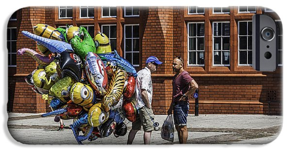 Balloon Vendor iPhone Cases - The Balloon Seller iPhone Case by Steve Purnell
