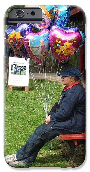 Balloon Vendor iPhone Cases - The Balloon Seller iPhone Case by Ted Denyer