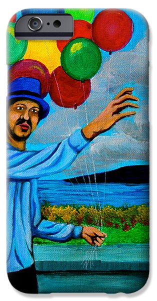 Park Scene Paintings iPhone Cases - The Balloon Vendor iPhone Case by Cyril Maza